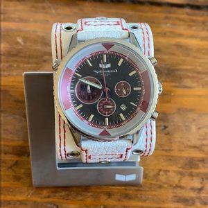 Men's White Leather Vestal Watch